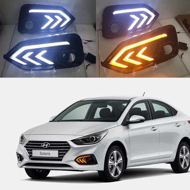 SNCN LED Daytime Running Light For Hyundai Accent I25 Solaris 2017 2018 Yellow Turn Signal Relay DRL Fog Lamp