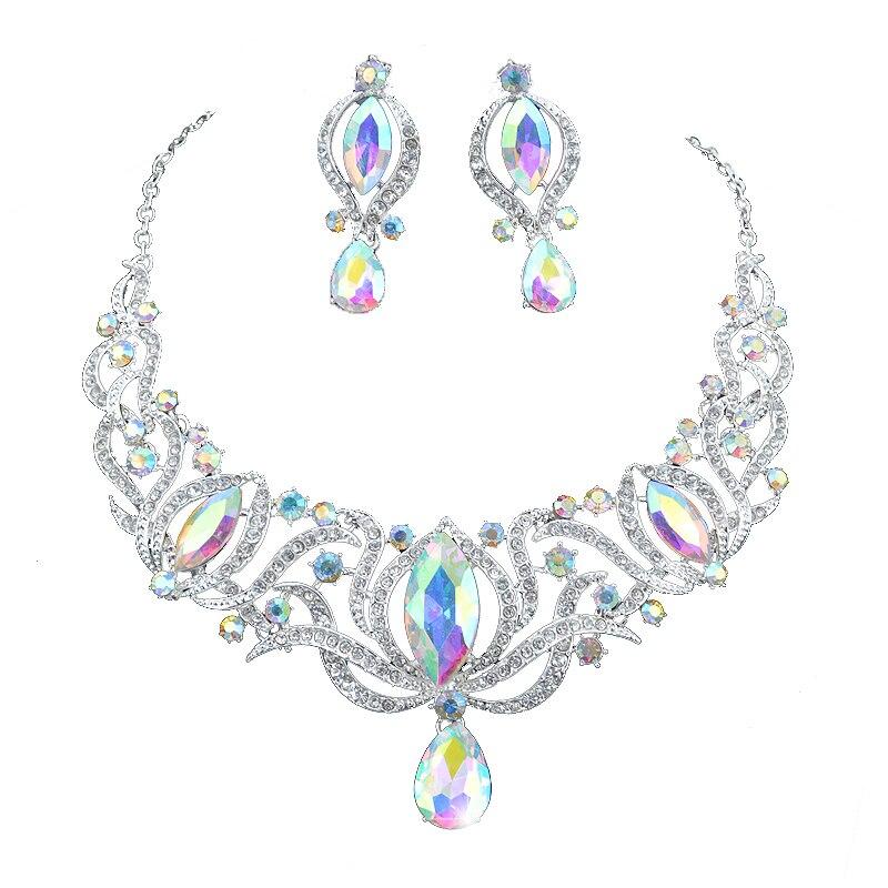 Высокое качество, индийский стиль, серебряный цвет, комплекты ювелирных изделий, свадебное ожерелье, серьги, набор, женские свадебные вечерние ювелирные изделия, AB цвета, аксессуары