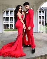 sexy red feather mermaid prom dresses 2k19 plus size high split crystals cheap black girls 2019 vestidos largos de fiesta