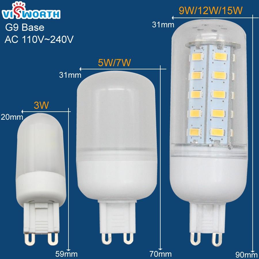 G9 diodo emissor de luz smd3014 3 w lâmpada led smd2835 5 w 7 smd5730 9 12 15 lâmpada led cristal milho 360 graus iluminação decoração para casa