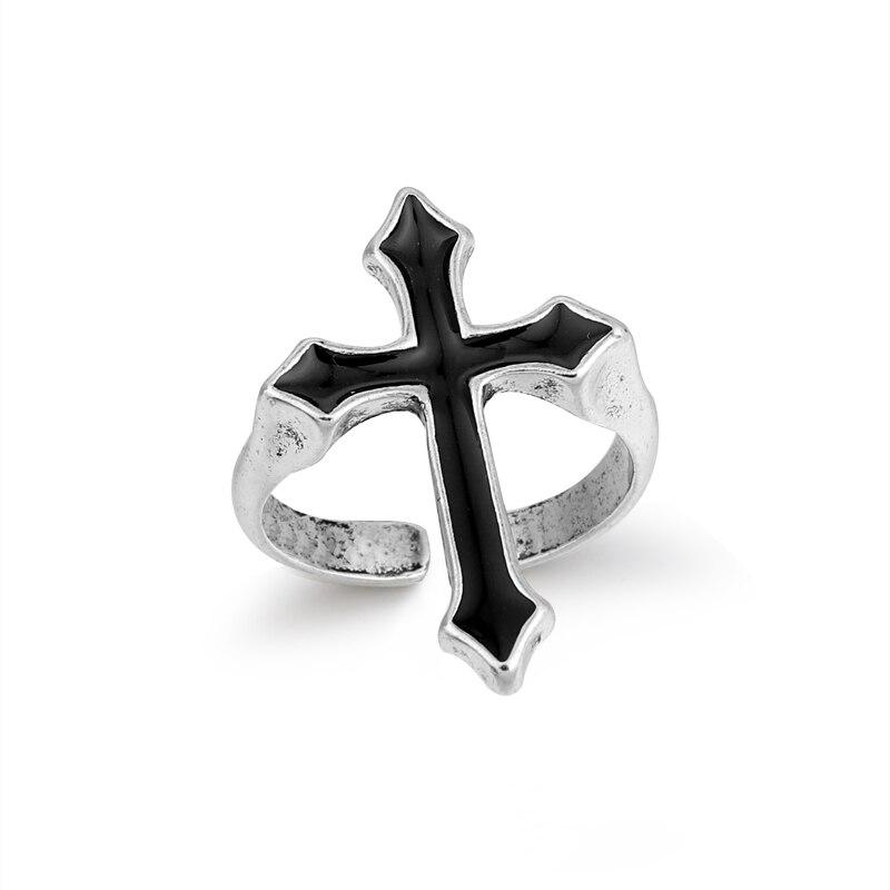 GEOMEE 1 шт., винтажное черное большое Открытое кольцо с крестом для женщин, вечерние ювелирные изделия для мужчин, Трендовое готическое металлическое цветное круглое кольцо R58-1