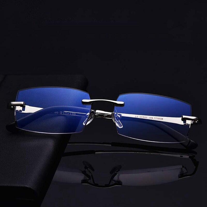 نظارات قراءة ذكية عالية الدقة للرجال ، مع عدسات شفافة لقصر النظر الشيخوخي ، مع قطع الماس ، بدون إطار ، ومضاد للأشعة الزرقاء ، وتقويم متعدد الب...
