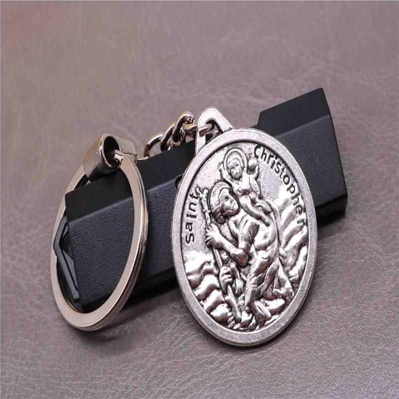 New classic charm St. Christopher key chain, Jesus cross key car keychain, handbag, Christmas gift s