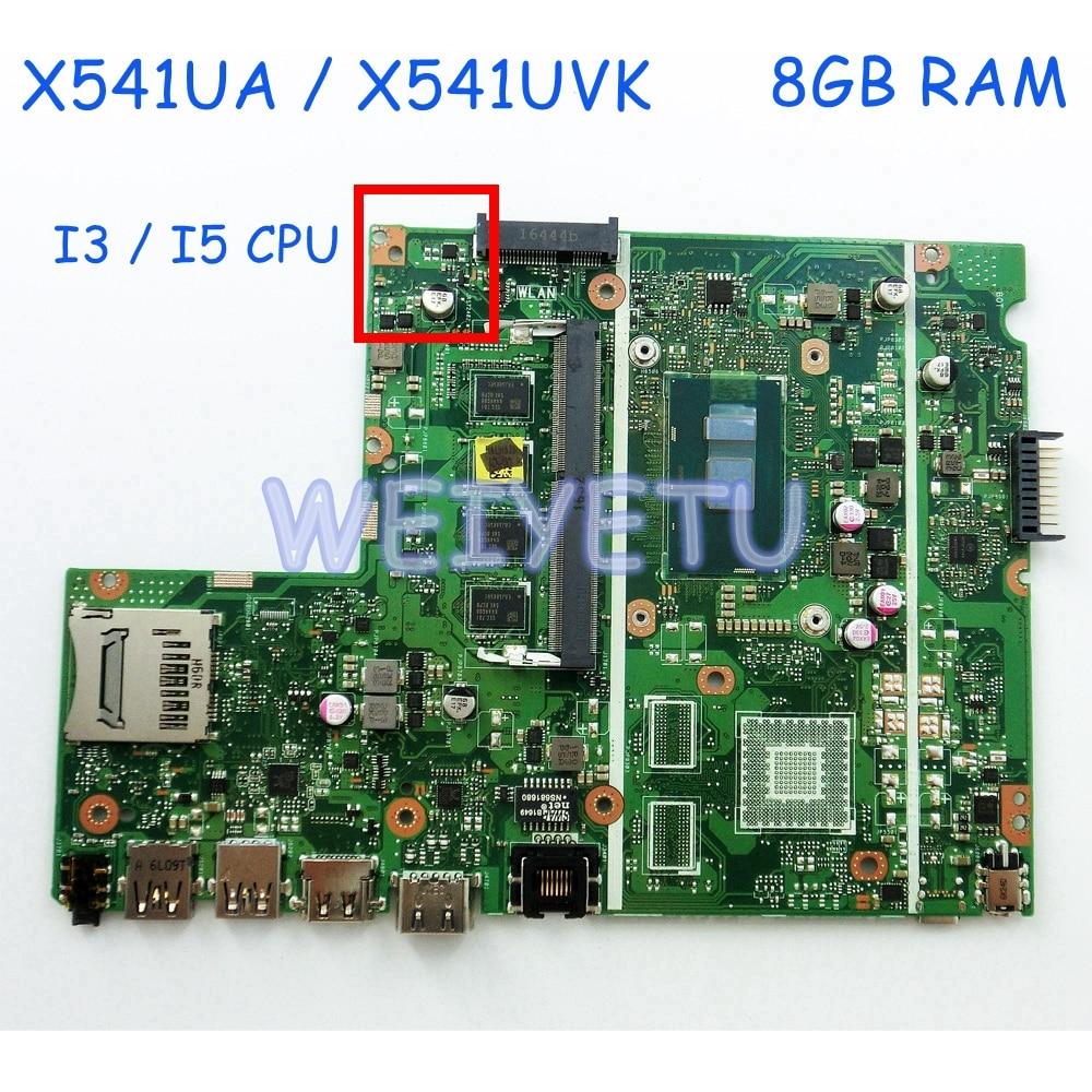 X541UAK 8 GB DDR4 RAM con I3 I5CPU placa base para ASUS X541U X541UA X541UAK X541UVK X541UV X541UJ portátil placa base 100% prueba