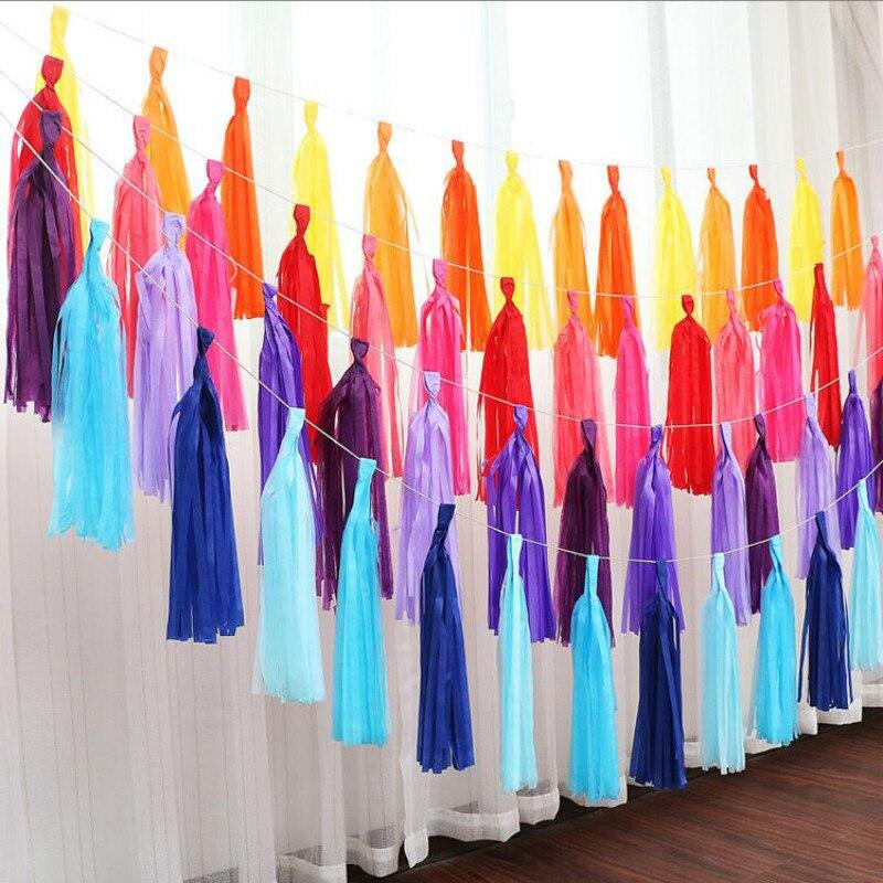 1 paquete de papel tisú, guirnalda de borlas, guirnalda rosa dorada, azul, roja, púrpura, plateada, guirnalda para bodas, cumpleaños, fiesta de bienvenida al bebé, decoración para fiestas