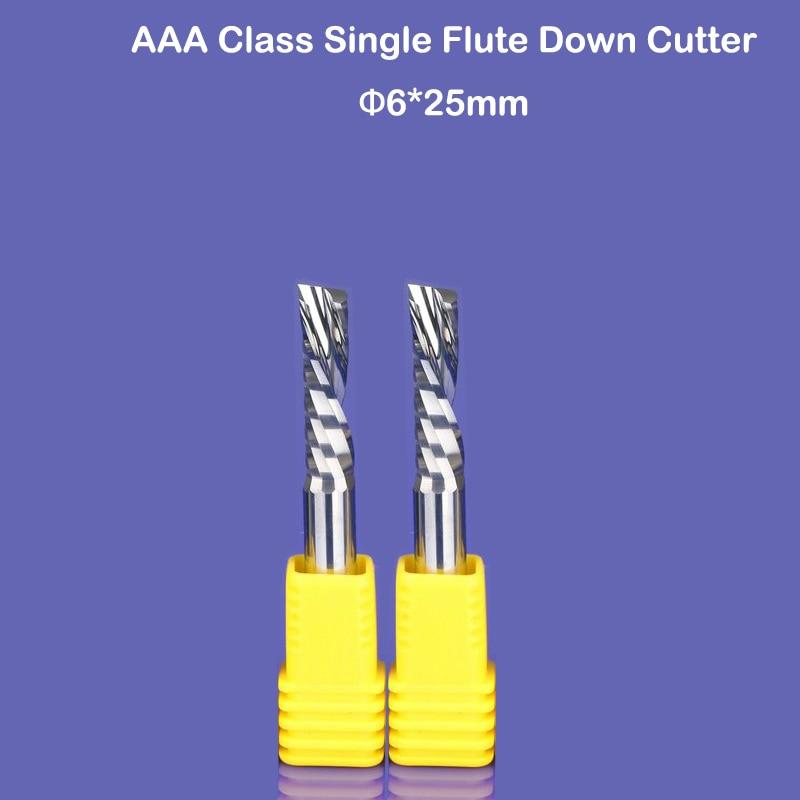 2 pièces 6x25mm bas Cutter gauche main spirale Bit CNC routeur outil AAA série une flûte acrylique aluminium sculpture frezer endmill