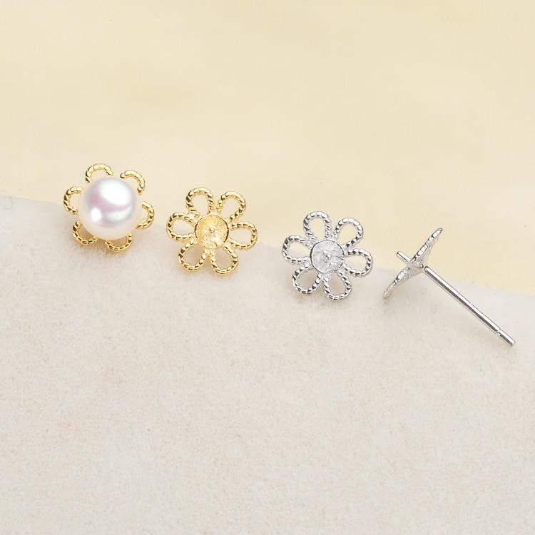 2 Color 925 Sterling Silver Pearl Earrings Fashion Stud Earrings Flower Findings Jewelry Parts Fittings Women's Accessories