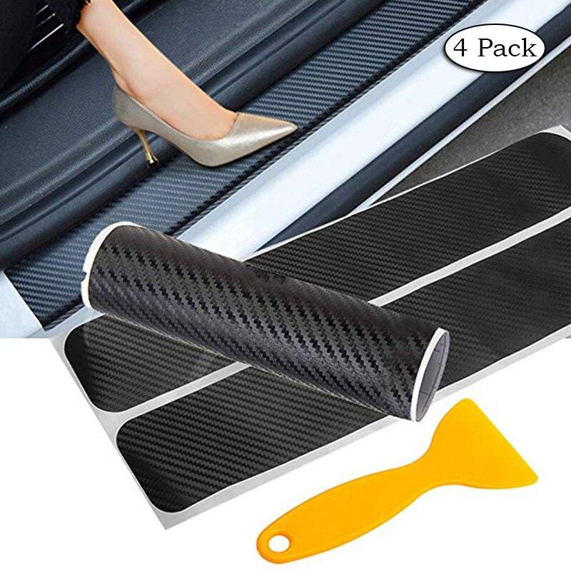 Pegatina antiarañazos de umbral de puerta de fibra de carbono para Toyota corolla rav4 camry prius hilux avensis Accesorios