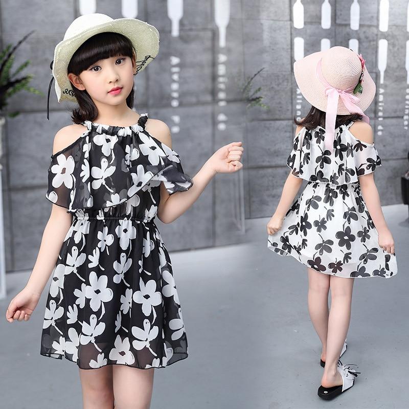 Teenage Girl Dresses Summer 2019 Children's Clothing Kids Flower Dress Chiffon Princess Dresses For Age  7 8 9 10 11 12  Years