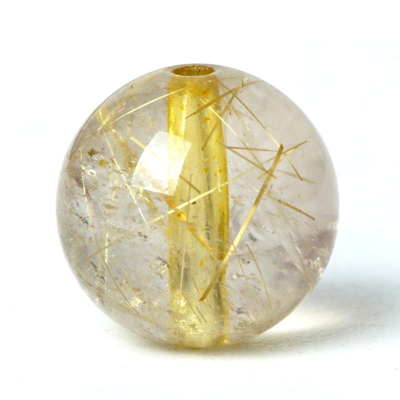 Cuentas de piedra de Cuarzo rutilado Natural, cristal de pelo dorado, piedra preciosa Original, amuleto de la fortuna suerte, Cuenta de 6/8/10mm para pulsera