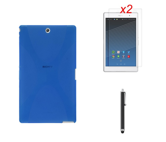 Funda mate de línea X de Gel de silicona TPU, funda protectora de piel de goma, bolsa + 2 * película transparente + Stylus para Sony Xperia Z3 Tablet Compact SGP621/ 641