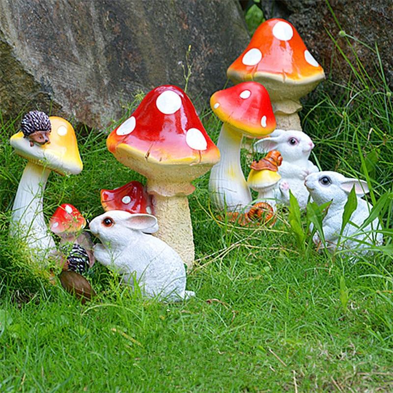 1pc Small / Large Resin Mushroom Figurines Garden Decoration Outdoor Art Garden Yard Ornament
