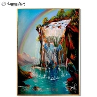 modern beautiful jewish under the waterfall acrylic picture hand painted rainbow mountain landscape oil painting jesus portraits