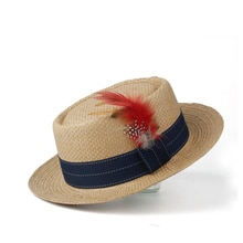 2019 Big Size Women Men Sun Hat Summer Pork Pie Hat Sunbonnet Hat Lady Flat Feather Beach Panama Sunhat Boater Hat Size 57-60cm