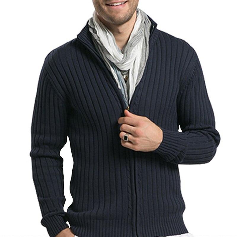Мужские хлопковые свитера YFFUSHI, Осенние повседневные приталенные вязаные мужские свитера в полоску с воротником-стойкой, кардиганы, Теплая ...