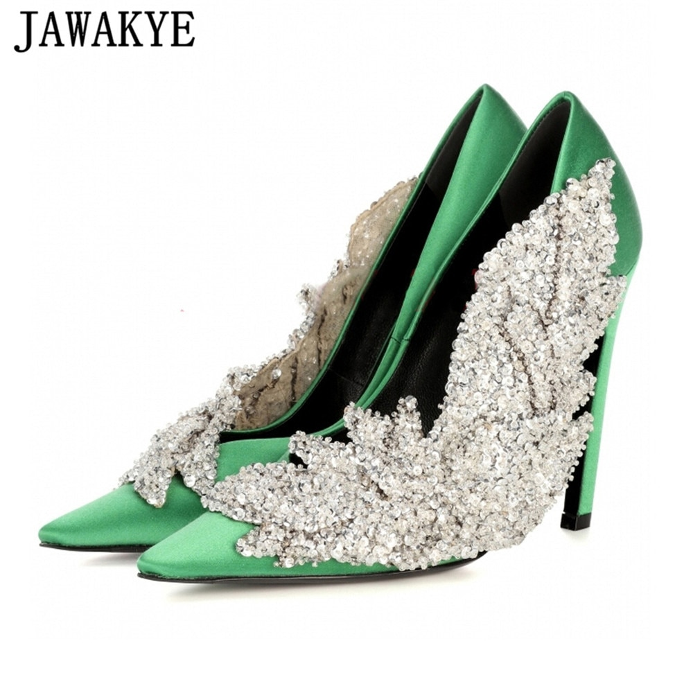 Zapatos jakakye de estilo de pasarela con diamantes de imitación para fiesta de mujer, zapatos de tacón de aguja de punta estrecha de seda, elegantes zapatos de boda con flores de cristal para mujer