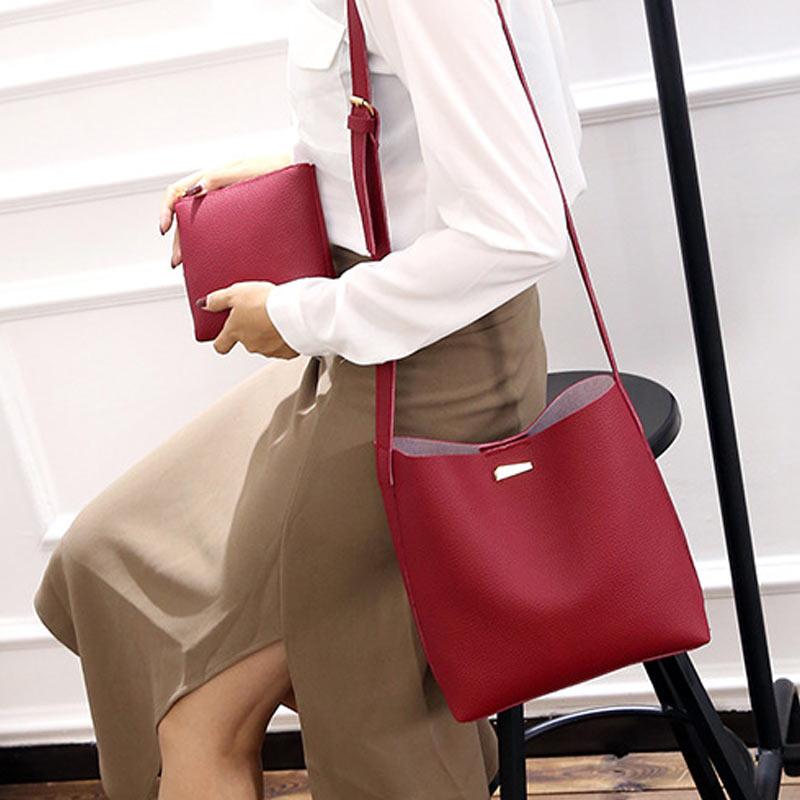 2 Pcs/Set Fashion Summer Women Shoulde Bag + Purse PU Leather Solid Color Ladies Girls Casual Messenger Bags 88 New