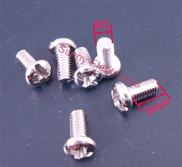 100 pcs M3 Screw M3x6 Diameter 3mm Length 6mm Stainless Steel