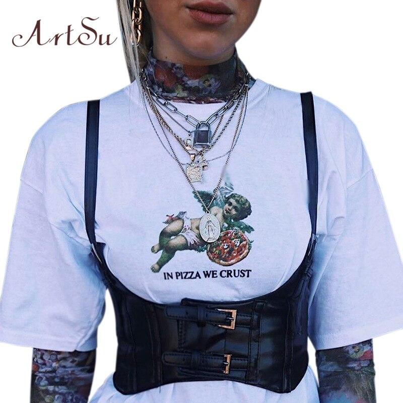 ArtSu, verano 2020, camiseta sin mangas de cuero PU para mujer, Bralette Sexy, Crop Top, corpiño negro, ropa deportiva, ropa de calle ASVE20478