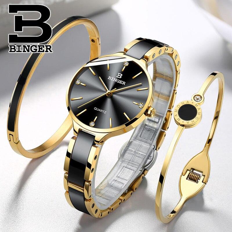 Reloj de cuarzo de cerámica Suiza BINGER, relojes de pulsera de marca de lujo a la moda para mujer, reloj femenino resistente al agua Montre Relogio 2018