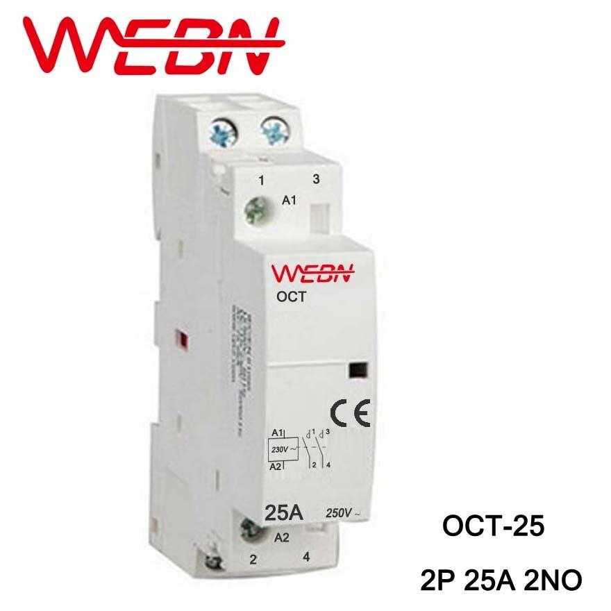 Contactor doméstico de CA serie OCT 230V 50/60Hz 2P 25A 2NO, dos...
