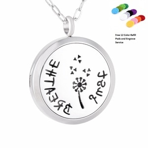 KLH0177 Just Breathe 30mm Aromatherapy / 316L s.steel Essential Oils Diffuser Locket Necklace-Free Engraving Service