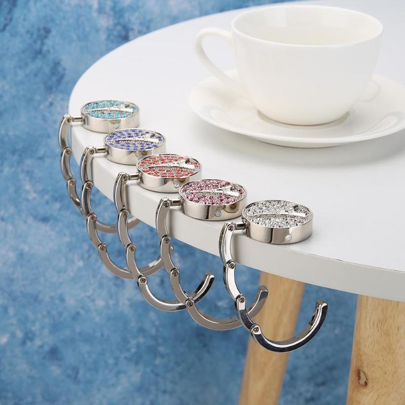 Forma de escarabajo Rhinestone mesa plegable borde bolso Perchero de gancho para bolsa soporte cocina baño accesorios