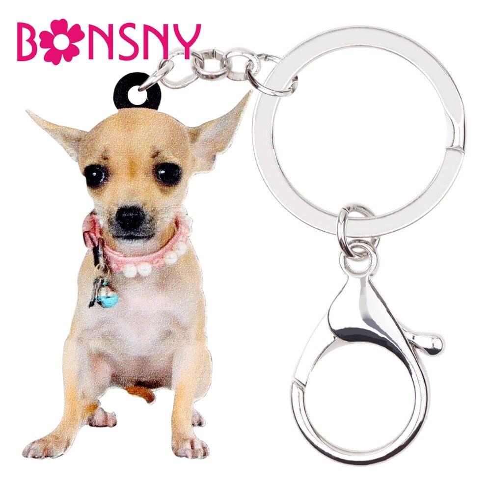 Llavero y llaveros bonsny de acrílico con bonito Collar para perro Chihuahua con cadena y llaveros, joyería de animales de dibujos animados para mujeres y niñas, bolso de coche, dijes, Bisutería