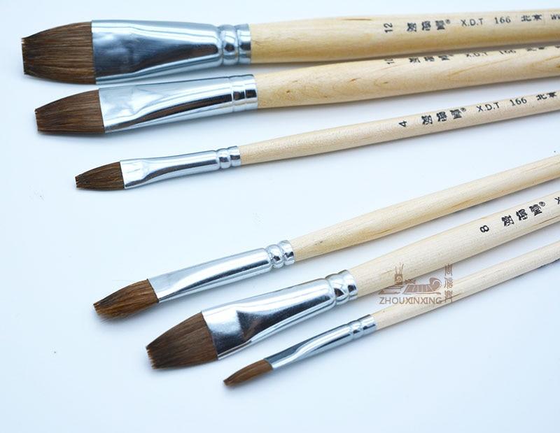 6pcs/Set weasel hair long rod gouache watercolor oil painting brush art supplies acrylic Drawing pen row brush free shipping