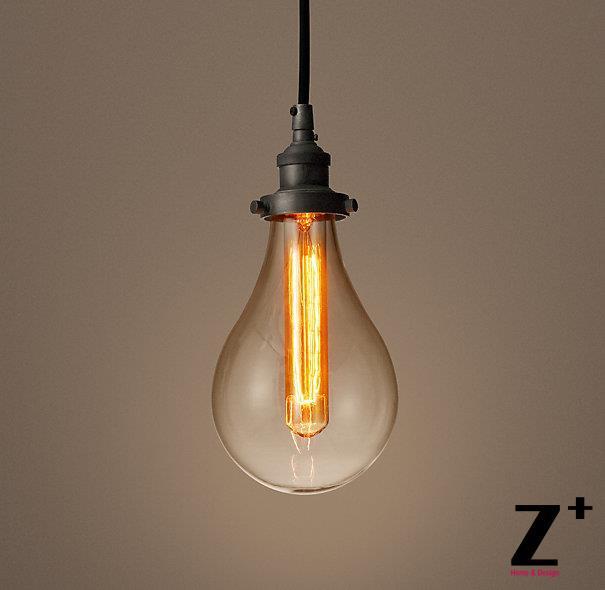 Réplica do artigo industrial Diam 12.5 cm 1 luzes DE VIDRO TEARDROP FILAMENTO ÚNICO PINGENTE de vidro de ferro cord frete grátis