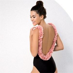 2019 New One-piece Parent-child Swimsuit Petals Pulled Sexy Thong Ruffle Bikini Slimming Swimsuit Pink Swimwear High Waisted