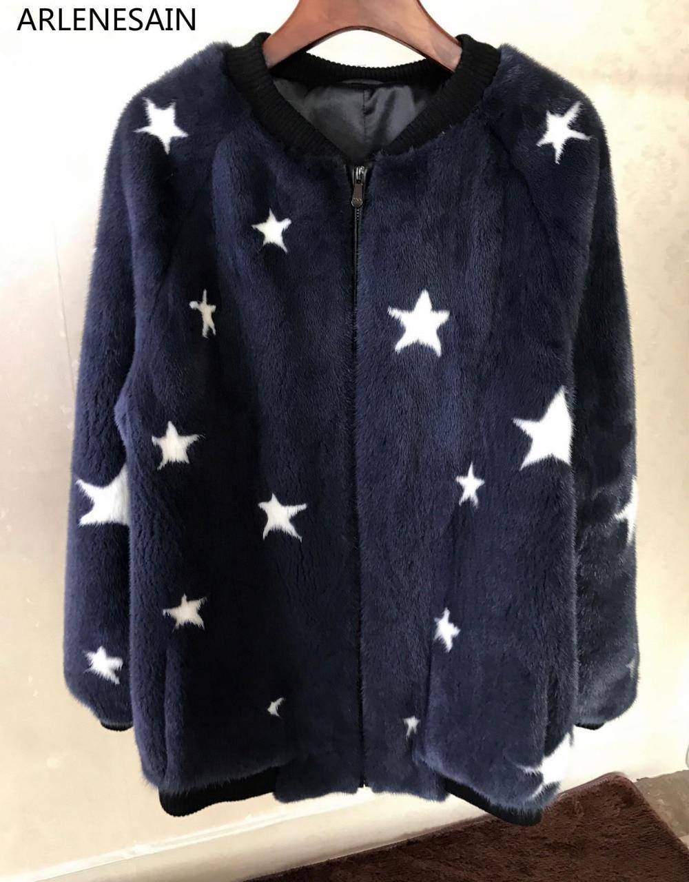 Abrigo de piel de visón personalizado de terciopelo Arlenesain, Túnica de piel, abrigo de béisbol de estrellas, abrigo de mujer
