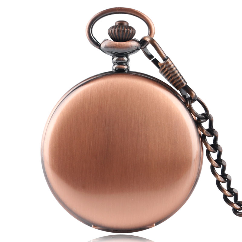 Classic Red Copper Smooth Men Quartz Pocket Watch Pendant 30cm Fob Chain Trendy Women Hot Fashion Stylish Full Hunter Gift fob chain pendant antique style yellow gold glossy smooth case steampunk gift fashion full hunter quartz pocket watch men women