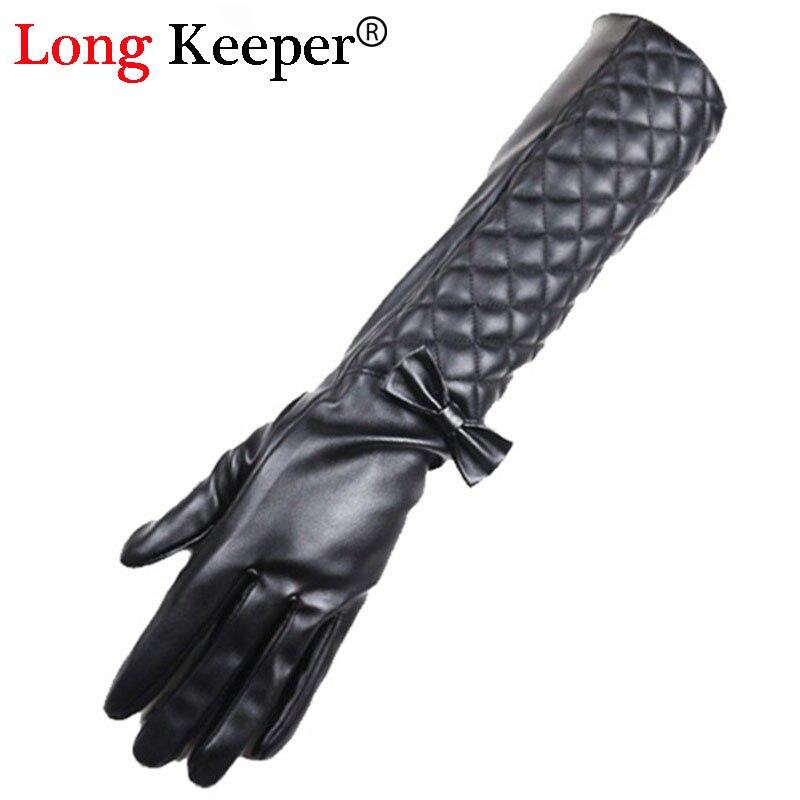 Luxury Sexy Ladies Leather Gloves Full Finger Bowknot Gloves Women Opera Long Sleeves Winter Black Glove 42cm Length M202