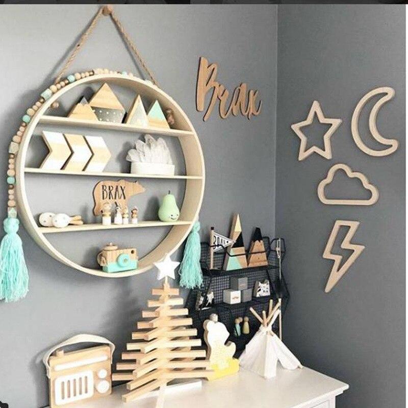Adesivo de madeira decorativo, adesivo de coelho, lua, decoração artesanal para crianças, design de berçário, sala de bebê