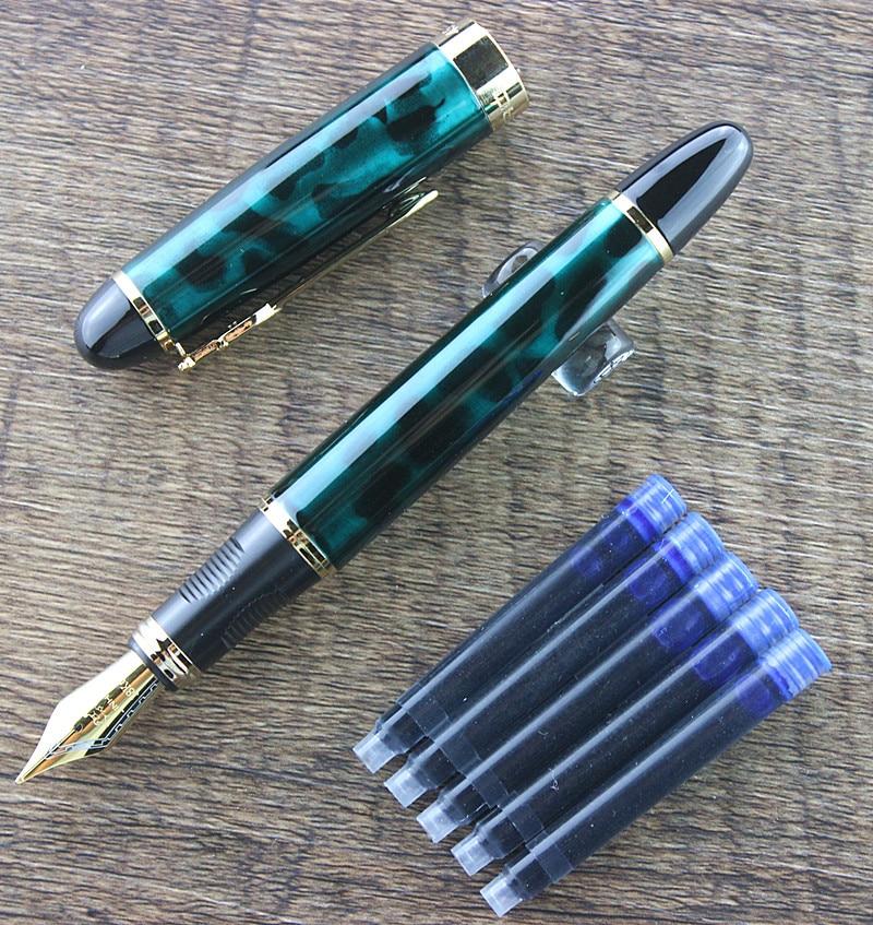 Подлинная Jinhao 450 перьевая ручка из чистого металла Jinhao X450 золотая ручка с золотым зажимом 0,5 мм Средний наконечник для офиса