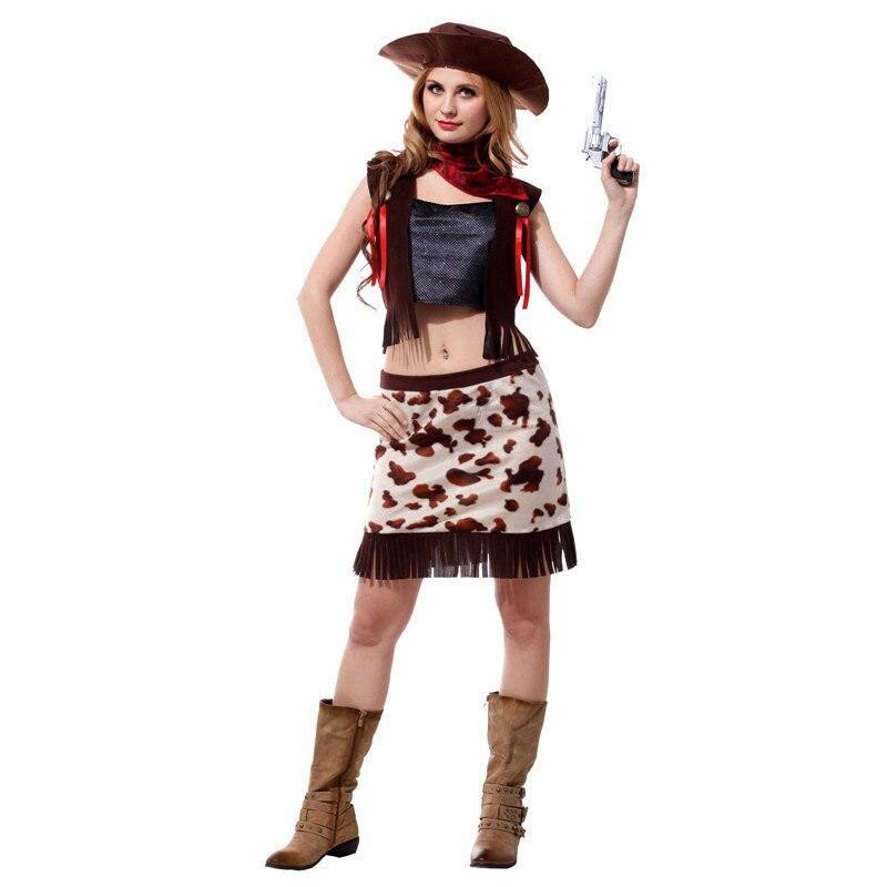 Fantasia feminina mulher cowgirl cosplay halloween trajes de cowboy sexy carnaval no brasil purim palco desempenho jogar vestido