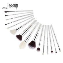 Jessup pinceaux 15 pièces blanc perle/argent pinceaux de maquillage professionnels fond de teint anti-cernes crayon maquillage ensemble de pinceaux T240