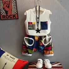 2 pcs wnleigel 소년 여름 의류 세트 키즈 패션 화이트 패치 워크 티셔츠와 만화 짧은 세트 아기 옷 2-7 년