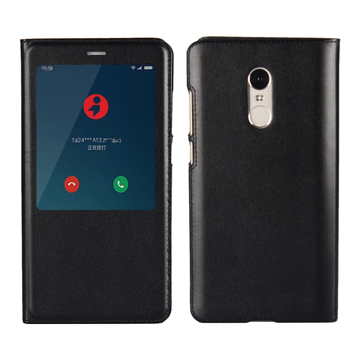 Ultra-fino negócio capa protetora coldre caso de telefone janela-tipo flip caso caso de couro do plutônio para xiaomi redmi note 4 4x