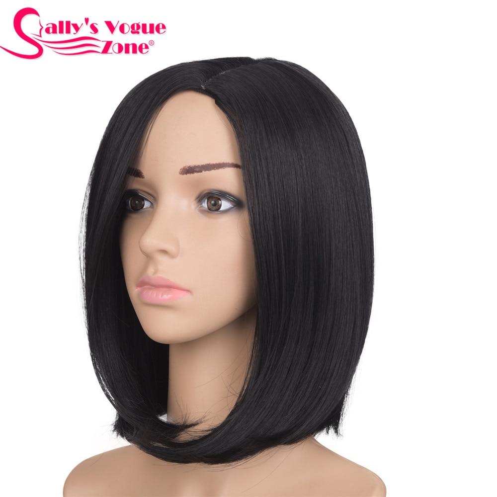 Sallyhair 12inch Japanese High Temperature Fiber Synthetic Centre Part Short Black Color Bob Wig For Women