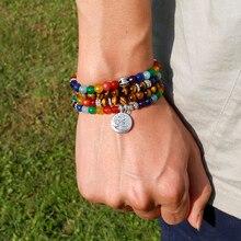 Naturel 7 Chakra œil de tigre Mala Bracelets 108 bouddha guérison Yoga Bracelet pour femmes et hommes bijoux livraison directe