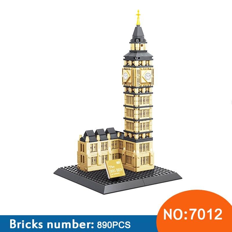 WANGE 7012 arquitectura 3D DIY Big Ben conjuntos de bloques de construcción ciudad ladrillos modelo horizonte clásico niños regalo juguetes para niños