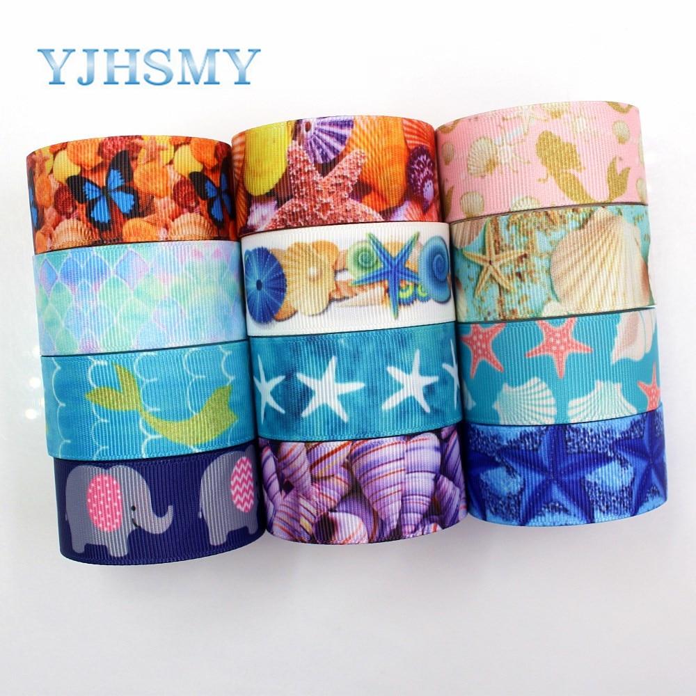 Yjhsmy G-18925-1198,25mm,5 jardas oceano série concha fitas transferência térmica impresso grosgrain, acessórios de vestuário diy