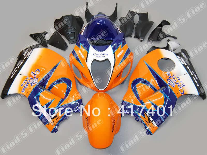 BLK para Hayabusa GSXR1300 96-07 GSX R1300 GSXR 1300 GSX-R1300 96 97 98 99 00 01 02 03 04 05 06 07 carenado de ABS, azul o naranja, blanco