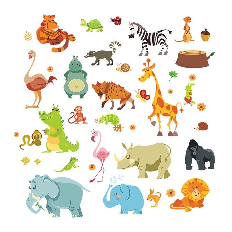 Pegatinas de pared de animales de la selva para habitaciones de niños, habitaciones de Safari, decoración del hogar del bebé, póster, adhesivos de pared de caballos de elefante mono