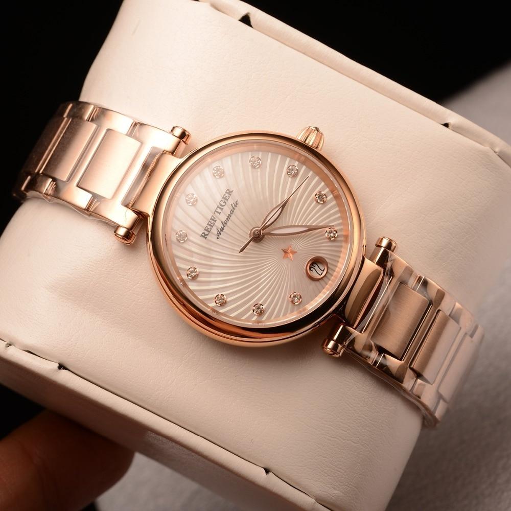 Reef Tiger/RT Brand Luxury Rose Gold Women Watch Diamond Polaris Dial Automatic Bracelet Watches New reloj mujer RGA1590 enlarge