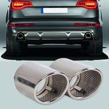 Beler 2 Pcs Chrome Rvs Uitlaat Tail Dempers Tip Pijp Voor Audi Q7 3.0 Tdi Tfsi 2006 2007 2008 2009 2010-2013