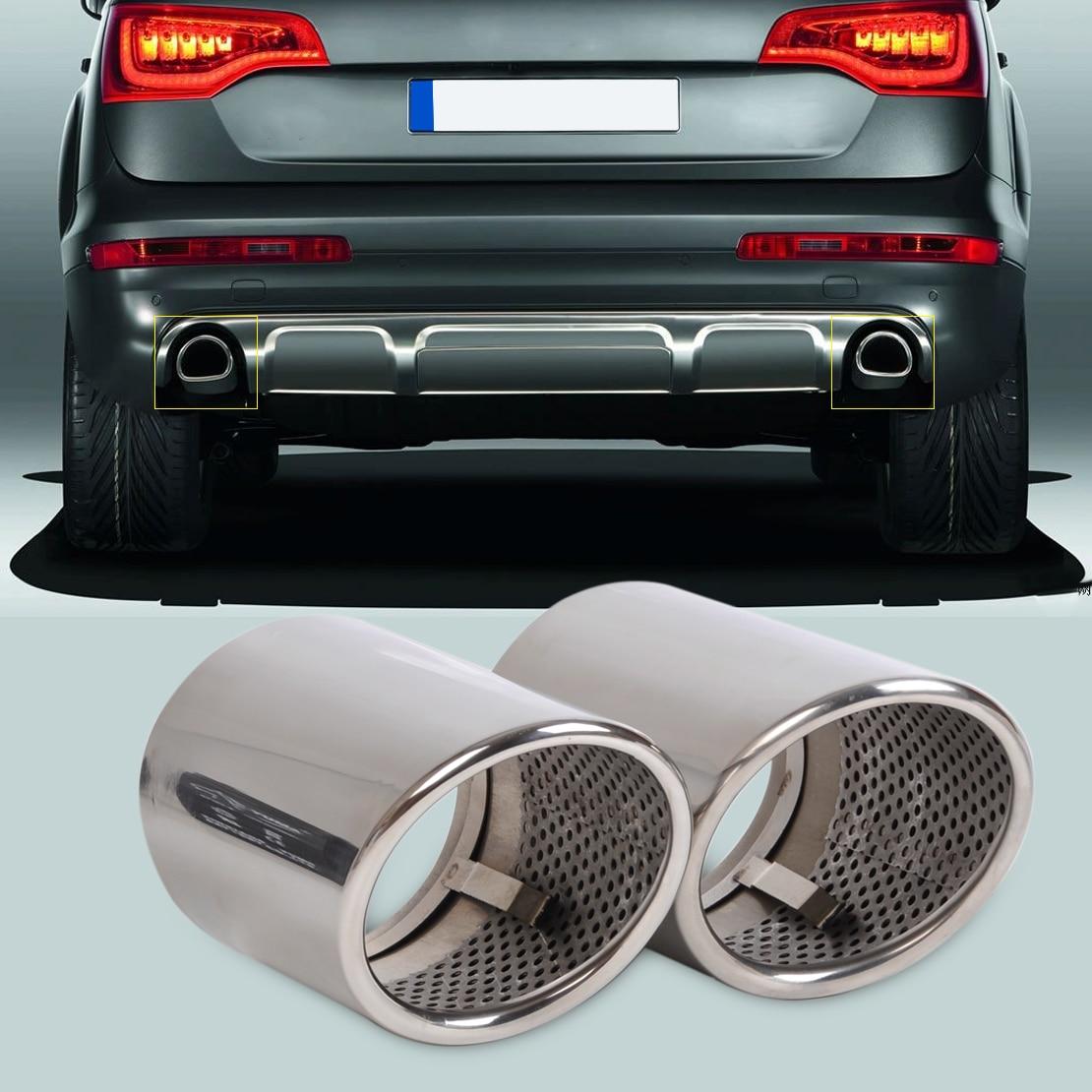 beler 2pcs Chrome Stainless Steel Exhaust Tail Rear Muffler Tip Pipe for Audi Q7 3.0 TDI TFSI 2006 2007 2008 2009 2010-2013