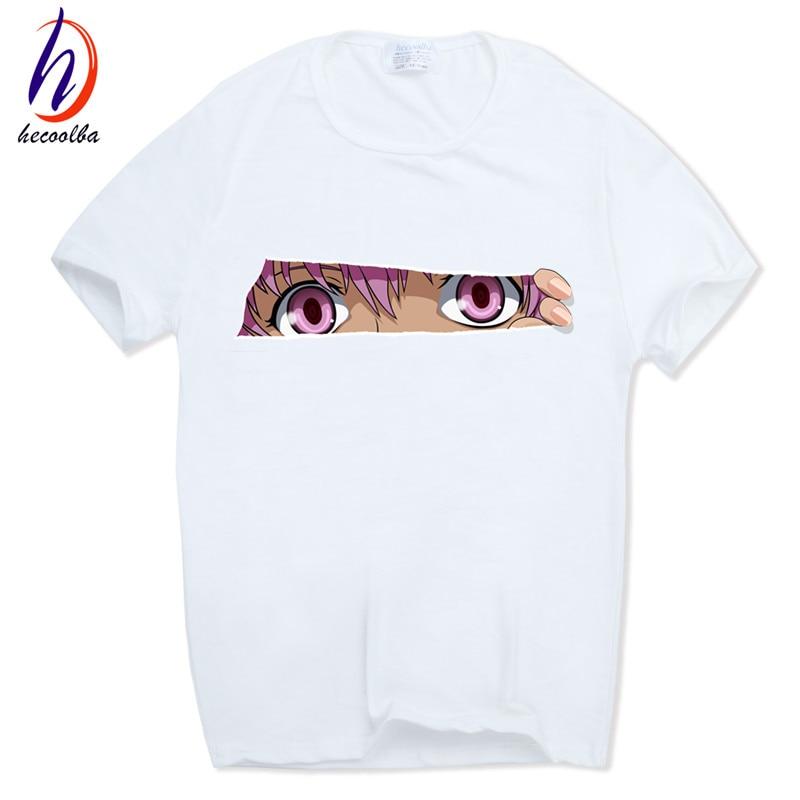 Camiseta estampada Future Diary Anime japonés Mirai camiseta de Nikki o-cuello mangas cortas verano Casual Gasai Yuno camiseta HCP617